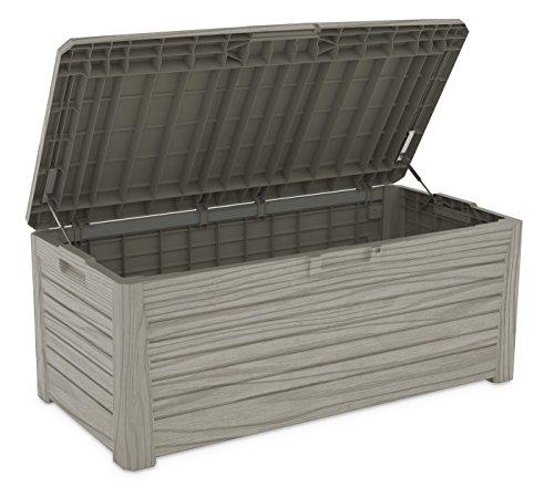 XL Toomax Kissenbox #Z155 Florida grau 550 Liter Inhalt Holz Optik - mit Sitzfläche 350 kg Tragkraft - abschließbar