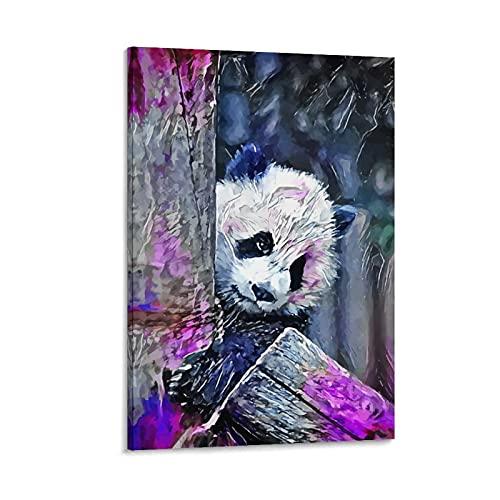 yique Póster de panda oculto en lienzo y pared con impresión moderna para dormitorio familiar, 90 x 60 cm