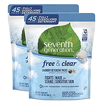Seventh Generation Laundry Detergent Packs Free & Clear 90 Loads  2 pouches 45 Ct EA