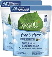 Seventh Generation Laundry Detergent Packs, Free & Clear, 90 Loads (2 pouches, 45 Ct EA)