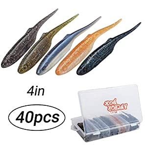 RUNCL Anchor Box - Soft Jerkbaits, Soft Fishing Lures, Swimbaits Thin Tail 02 (4in, Pack of 40)