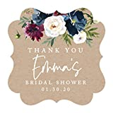 Andaz Press Kraft Brown with Burgundy Midnight Blue Florals Fall Wedding Party Collection, Personalized Fancy Frame Gift Tags, Thank You Custom Name Bridal Shower Custom Date, Floral, 24-Pack