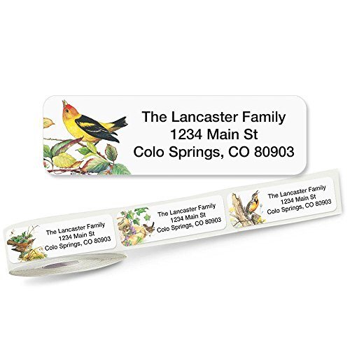 Meadow Birds Rolled Address Labels with Clear Dispenser by Colorful Images (5 Designs) Roll of 250