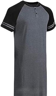 Men Sleep Shirt V Neck Nightshirts Short Sleeve Henley Shirt Sleepwear
