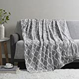 Madison Park Ogee Lightweight Throw Blanket Premium Microlight Design Spread, Oversize, Ultra Soft, Cozy Living Room Couch, Sofa, Bed, 60'x70' Grey Plush Throw