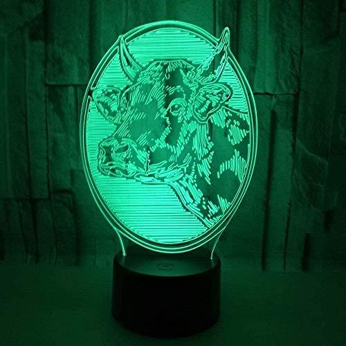 Illusion Lampe LED Night LightCattle7 Changement de Couleurs, Smart Touch Button Control, pour Salon Chambre Décor À La Maison Creative Cadeau Jouets