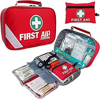 2-in-1 First Aid Kit  215 Piece  + Bonus 43 Piece Mini First Aid Kit -Includes Eyewash Ice Cold  Pack Moleskin Pad and Emergency Blanket for Travel Home Office Car Workplace