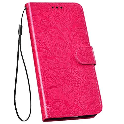 Ysimee Handyhülle kompatibel mit Samsung Galaxy J6 Plus 2018 Leder, Blumen Muster Einfarbig Brieftasche Schutzhülle mit Kartenfach Klappbar Stoßfest Kratzfest Hülle Leder Handy Tasche, Rosenrot