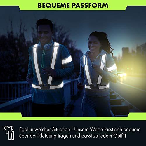 CBL LUXURY Reflektorweste [8er Set] Bestehend aus Fahrrad Warnweste, Armband und Netztasche Premium Reflective Vest in Zwei - 5