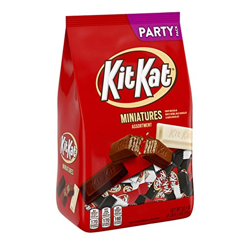KIT KAT Valentines Candy Assortment, Dark & Milk Chocolate, w/ White Crème Miniatures Assortment, Party Bag, 2 Pounds