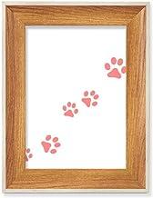 Cat Mewing Animal com pegada rosa e estampa de pata, para mesa, moldura de madeira para fotos, pintura artística, vários c...