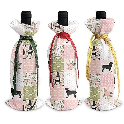 BK Creativity Red Wine Bag,Labrador-Apportierhund-Rosa-Plaid-Schottische Blumen-3Pcs Weihnachtsrotwein-Flaschen-Abdeckungen Für Feiertags-Dekoration