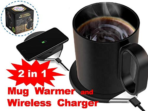 BA-PRO Brilliant Idea, USB powered, 2 in 1 Portable Mug Warmer and 18W Fast Wireless Phone Charger (Iphone / Samsung), Keeps Your Beverage Hot, at Home, Office or Travel, Best Automatic Temp Control, Durable Porcelain Ceramic Mug and Lid, Black