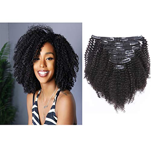 Brazilian Real Human Hair Clip in Extensions Afro Kinkys Curly Clip Ins Brazilian Double Weft Remy Hair African Americans Natural Virgin Hair 8A Full Head For Black Women 7pcs/set 120gram/set 16 Inch
