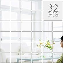 VINFUTUR 32 stks Vierkante Spiegel Muurstickers 3D Zelfklevende Spiegeltegels DIY Home Decoratieve Plastic Spiegel Muursti...