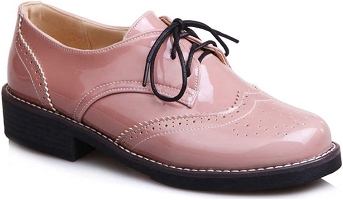 MISTU Women's New sales Classic Flat Saddle Oxford Lace Today's only P Wingtip Shoes Up