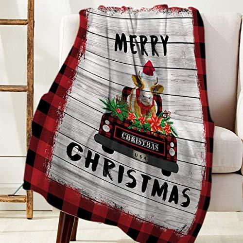 Manta Para Merry Christmas Farm Cow Camión negro y rojo Blanket 125 X 100CM