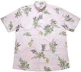 かりゆしウェア デイゴアクア ボタンダウン(ビジネスフィット)   半袖 アロハシャツ かりゆし メンズ シャツ 沖縄 結婚式 MANGO PLUS マンゴ プラス 花柄 (ピンク,3L)