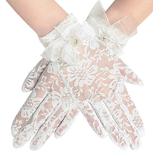 Coucoland Guantes de encaje para mujer, de novia, para bodas, fiestas, fiestas, disfraces, accesorios Lazo de color blanco, 22 cm. Talla única