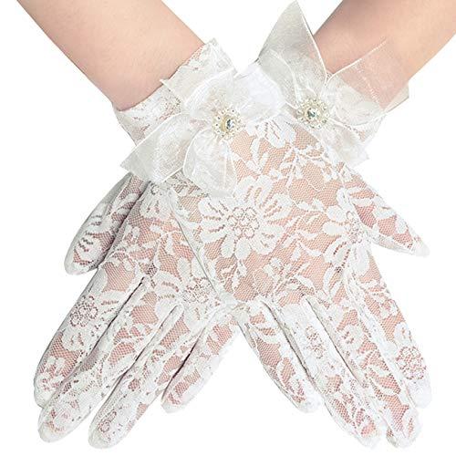 Coucoland Damen Lace Handschuhe Spitze Braut Hochzeit Handschuhe Opera Fest Party Handschuhe Damen Fasching Kostüm Accessoires (Schleife Weiß/22cm)