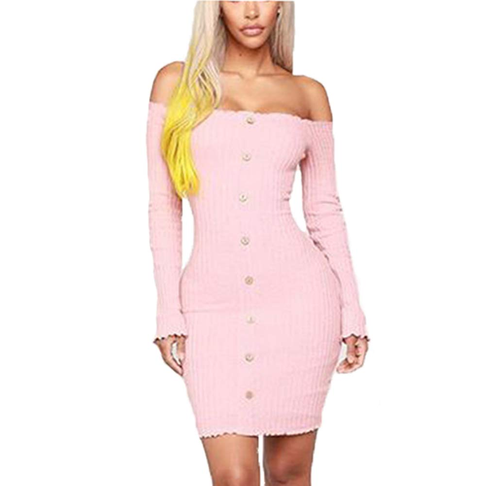 Available at Amazon: Susupeng Women's Off The Shoulder Ruched Long Sleeve Ribbed Bodycon Buttons Sexy Mini Dress