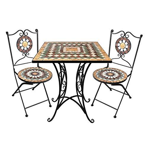3tlg. Sitzgarnitur Mosaikgarnitur 70x70cm + 2X Mosaik Gartenstuhl Klappstuhl