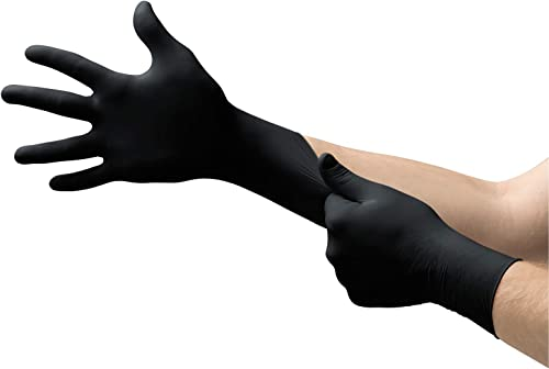 Microflex MK-296 Black Disposable Nitrile Gloves, Latex-Free, Powder-Free Glove for Mechanics, Automotive, Cleaning o...
