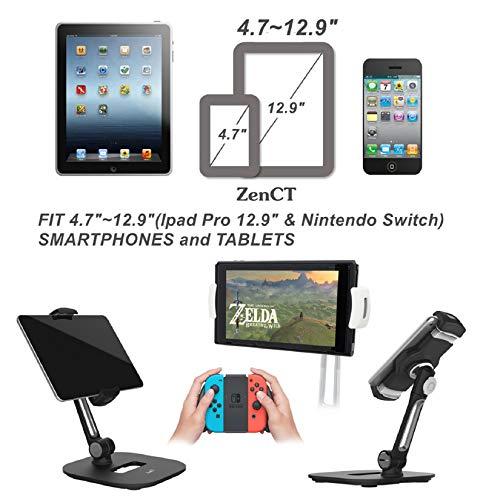 """ZenCT Tablet Ständer, Halterung für iPad, Drehbarer Multi-Winkel-Metall Halter für iPad 1,2,3,4/iPad Air/Samsung Tablets/Kindle 4""""- 11"""" - White"""