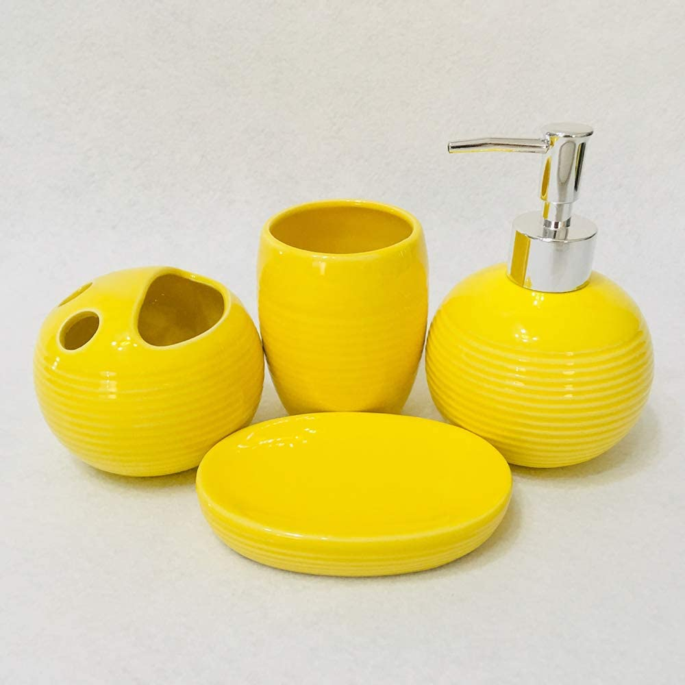 XIAOL 4 Piece Ceramic Full Bathroom Accessory Set - Pump Dispens