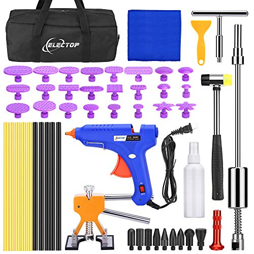 Electop Dent Puller Paintless Dent Repair Tools Kit, 53pcs Car Dent Remover Tool Dent Removal Tool Kit for Cars Auto Door Ding Hail Dent Remover with Golden Dent Lifter Glue Sticks Tabs Slide Hammer