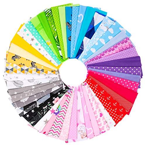 Paquete de Amilian: 20 unidades de aprox. 30 x 25 cm, tela de algodón, género al metro, telas para patchwork, 100 % algodón, tela de algodón DIY con varios patrones para coser, protector bucal
