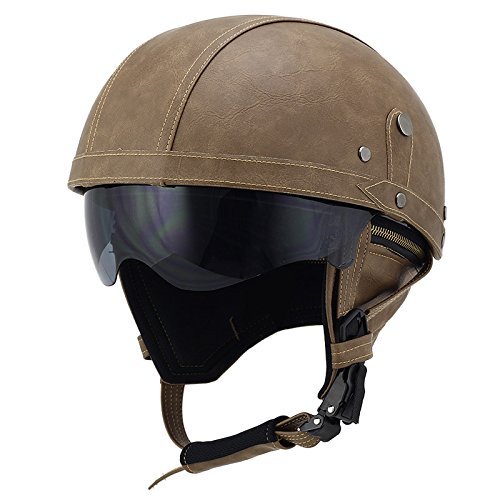 Woljay Leather Motorcycle Goggles Vintage Half Helmets Motorcycle Biker Cruiser Scooter Touring Helmet (Brown with Drop Down Sun Lens)
