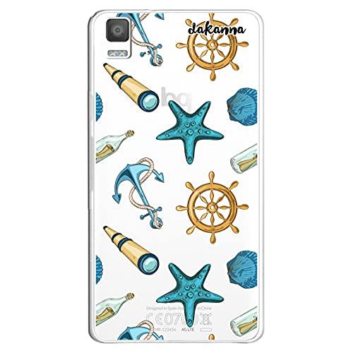 dakanna Funda Compatible con [ Bq Aquaris E5 4G - E5S ] de Silicona Flexible, Dibujo Diseño [ Estampado de Figuras náuticas ], Color [Fondo Transparente] Carcasa Case Cover de Gel TPU para Smartphone
