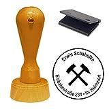 Stempel mit Kissen « BERGBAU ZUNFTZEICHEN » mit MOTIV Mine Kumpel Glück Auf Adressenstempel Firmenstempel