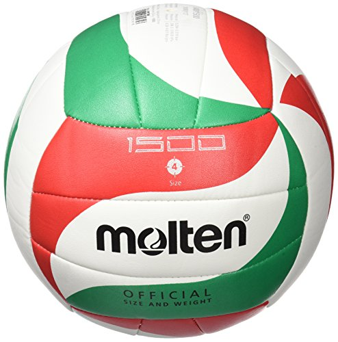 Molten VM1500 - Balón de Voleibol Intanfil, Blanco, Rojo y Verde, Talla 4