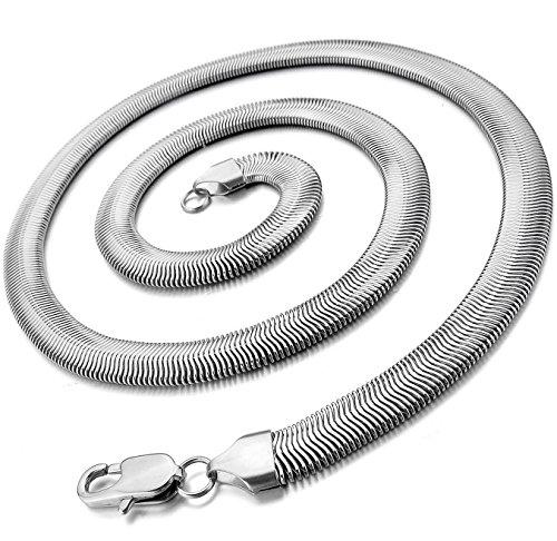 OSTAN Collana da Uomo Donna in Acciaio con Catena a Serpente Larghezza 5mm Lunghezza 60 cm Argento