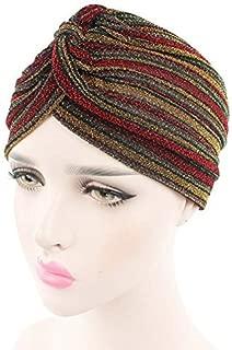 beauty YFJH Turban Stripe Hats Chemo Beanie Bandana Hijab Pleated Wrap Cap for Cancer