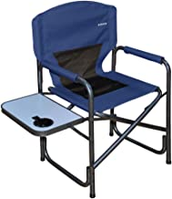 Suzeten Oversized Deck Chair Folding Camping Portable Lightweight Chair with Mesh Back Pocket, Side Table for Camping Outdoor Fishing, Navy Blue