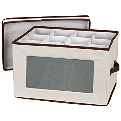 Household Essentials Natural 542 Vision Storage Box with Lid and Handles | Balloon Goblet Wine Glasses Canvas with Brown Trim