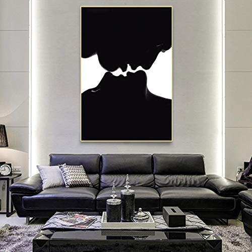 N/A Pittura su Tela Stampa Ritratto Moderno Poster e Stampe Wall Art Canvas Painting Young Couple in Love Kiss Pictures for Living Room Decor No Frame Casa Muro Decorazione Regalo