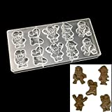 JPONLINE Polycarbonate Chocolate Mold,Moldes de policarbonato para chocolates,Santa Claus Shape Chocolate Mold,DIY Chocolate Making Tool
