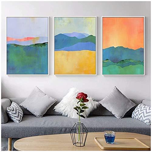 QWEAASD póster Abstracto Azul Amarillo Colores geométricos Lienzo Pinturas Cartel Pared Arte imágenes habitación decoración del hogar -50x70cmx3 sin Marco