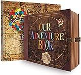 JIMBON Our Adventure Book, Scrapbook Photo Album, DIY Handmade Travel Scrapbook, Retro Style Travel Souvenir, Guestbook Anniversary Wedding Travel Baby Friend Gift (BALL)