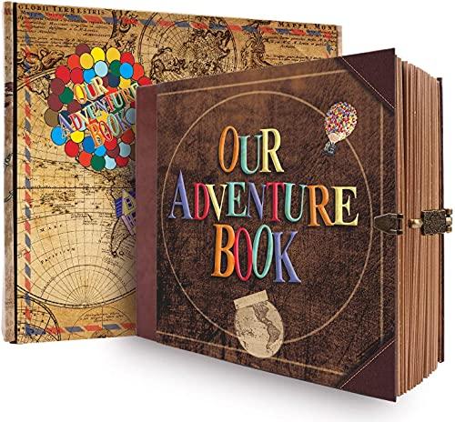 JIMBON Our Adventure Book Scrapbook Photo Album Book, DIY Handmade Travel Scrapbook, Retro Style Travel Souvenir, Guestbook Anniversary Wedding Travel Baby Friend Gift (BALL)