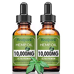 (2 Pack 10000mg) Hemp Oil - Natural Organic Hemp Seed Extract Hemp Drops Rich in Vitamin & Omega 3 6 9, Zero THC CBD Cannabidiol