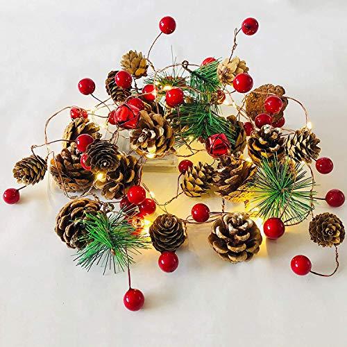 Weihnachtsgirlande mit Lichterkette, 20 Led Lichterkette Weihnachtsbaum, 2m Tannengirlande mit Beleuchtung Batteriebetrieben, Beleuchtung Weihnachten für Haus, Treppe,TreppengeläNder, Kamin, TüR
