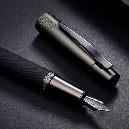 Hongdian 6013 Matte Black Fountain Pen with Metal Box Titanium Black Fine Nib Gift Pen Set