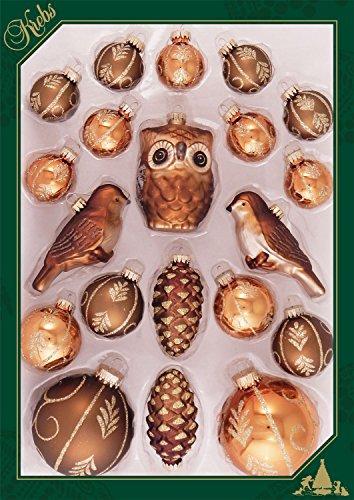 ORIGINAL LAUSCHAER Christbaumschmuck - 20 teiliges Kugelset mit verschiedenen Motiven, braun, mit goldenem Krönchen + 50 Schnellaufhänger in Gold GRATIS zu Ihrer Bestellung dazu !