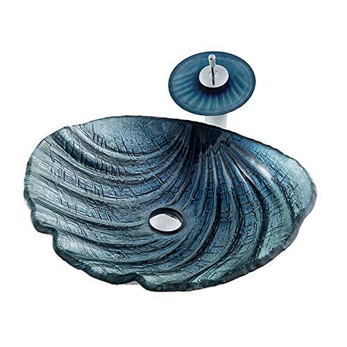 TANGAN Lavabo de Vidrio Templado Forma de Concha Instalación sobre Encimera Lavabo de Cristal con Grifo de Cascada, Tapón de Drenaje, Bajante, Anillo de Instalación,Azul