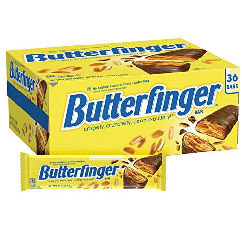 Butterfinger Peanut-Buttery Chocolate-y Candy Bars, Perfect Fathers Day Gift for Dad, 1.9 Ounce Individually Wrapped Bars (Pack of 36)